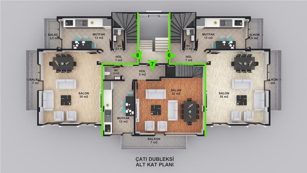 Loca Çatı Dubleks Alt Kat Planı