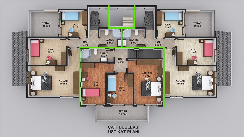 Loca Çatı Dubleks Üst Kat Planı